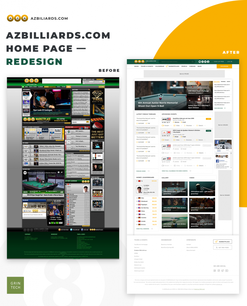 Azbilliards home page before and after redesign