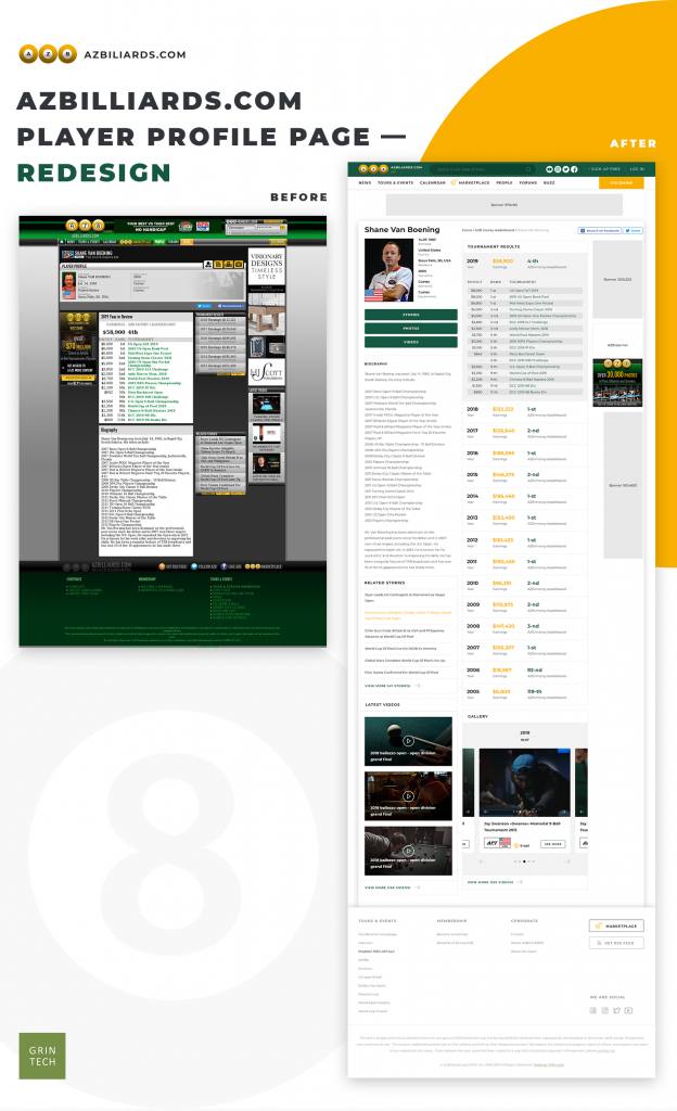 Azbilliards player profile page before and after redesign