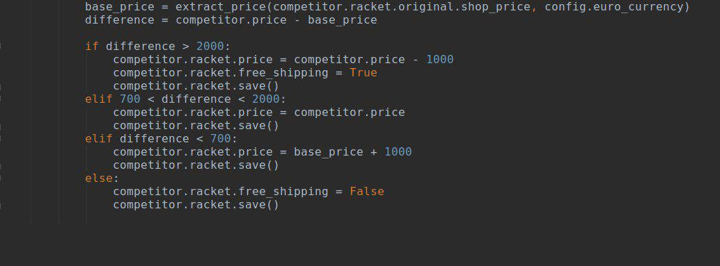 Price automation - competitors based pricing rules code example