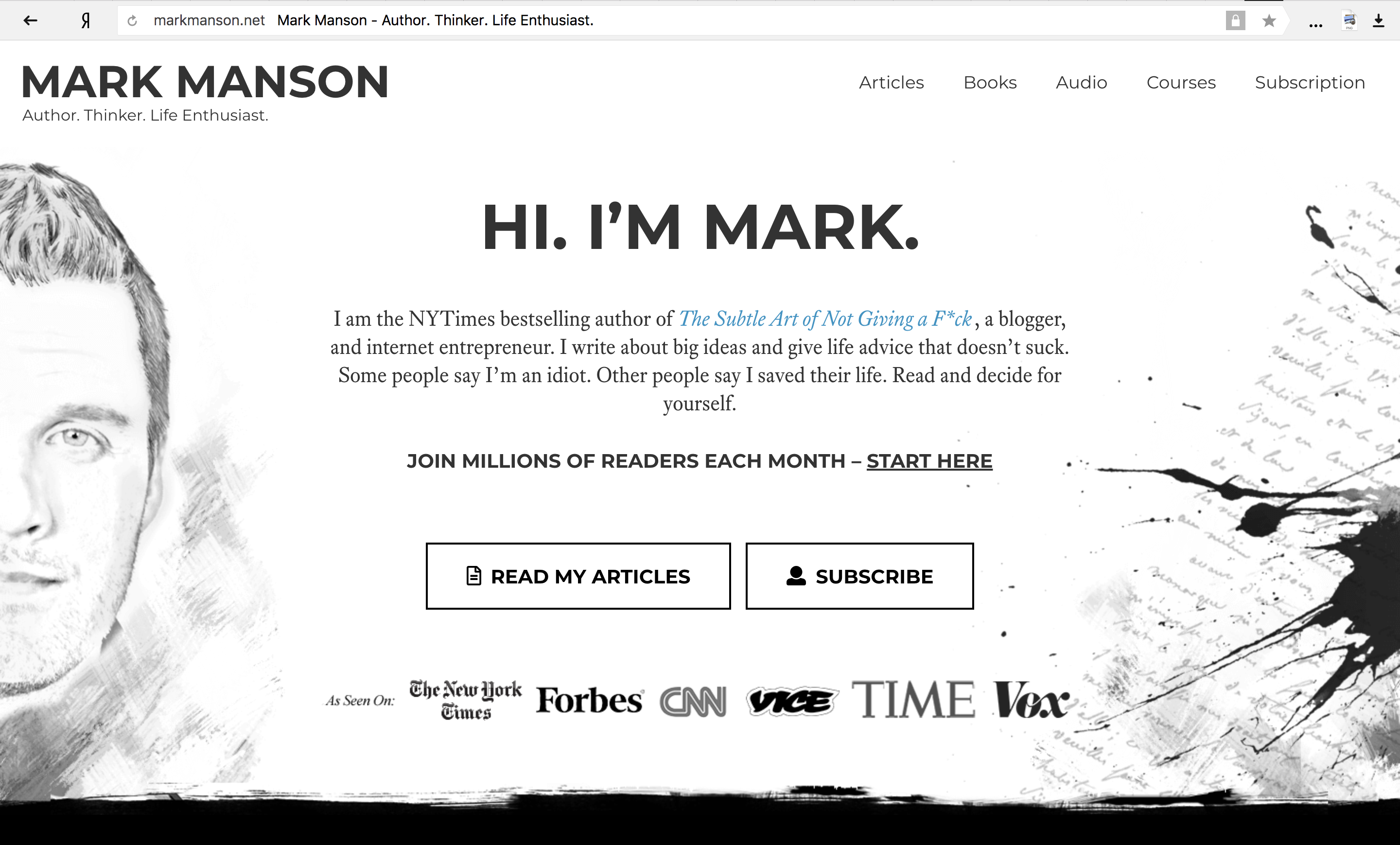 The Subtle Art of Not Giving a F*ck summary: Manson's personal website preview