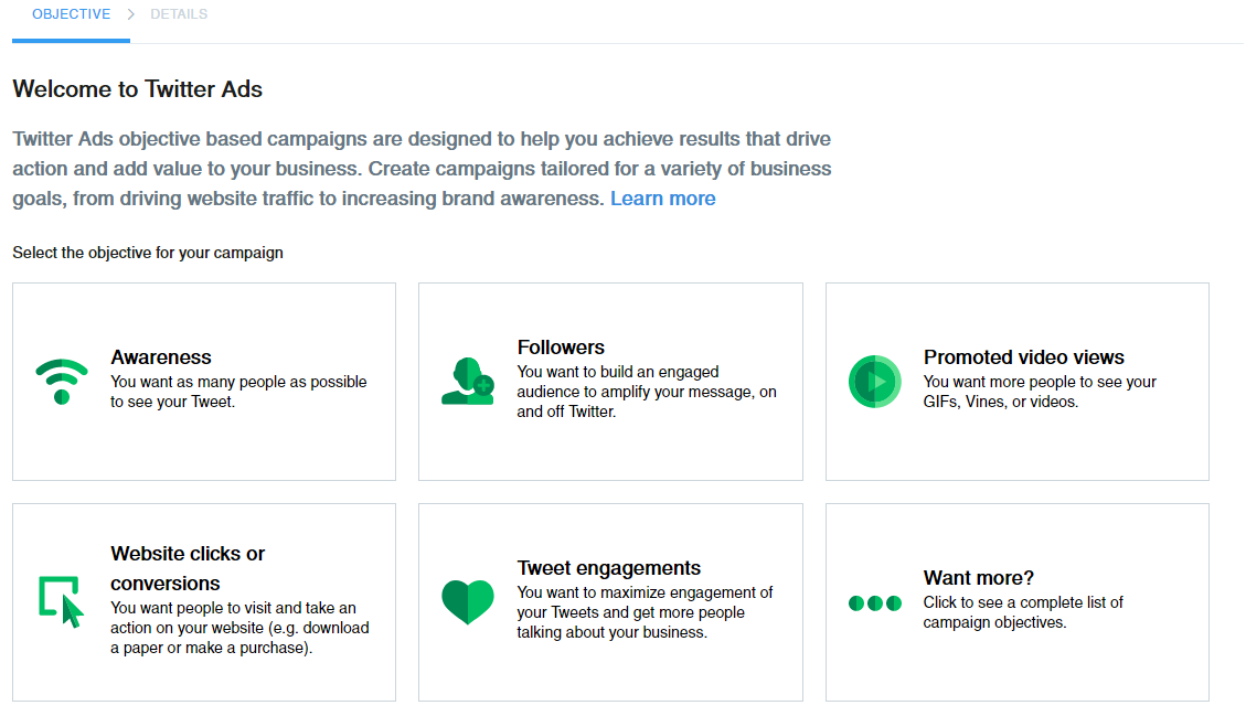 advertising channels for business - twitter ads objective