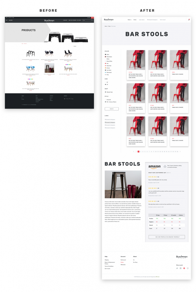 Buschmanstore category template before and after redesign