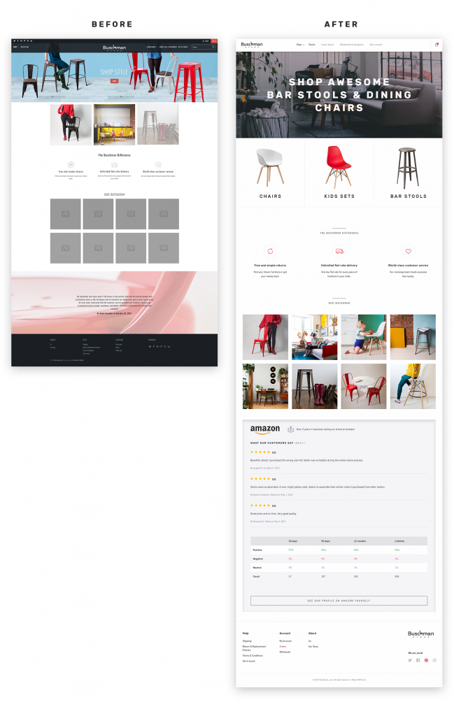 Buschmanstore home page before and after redesign