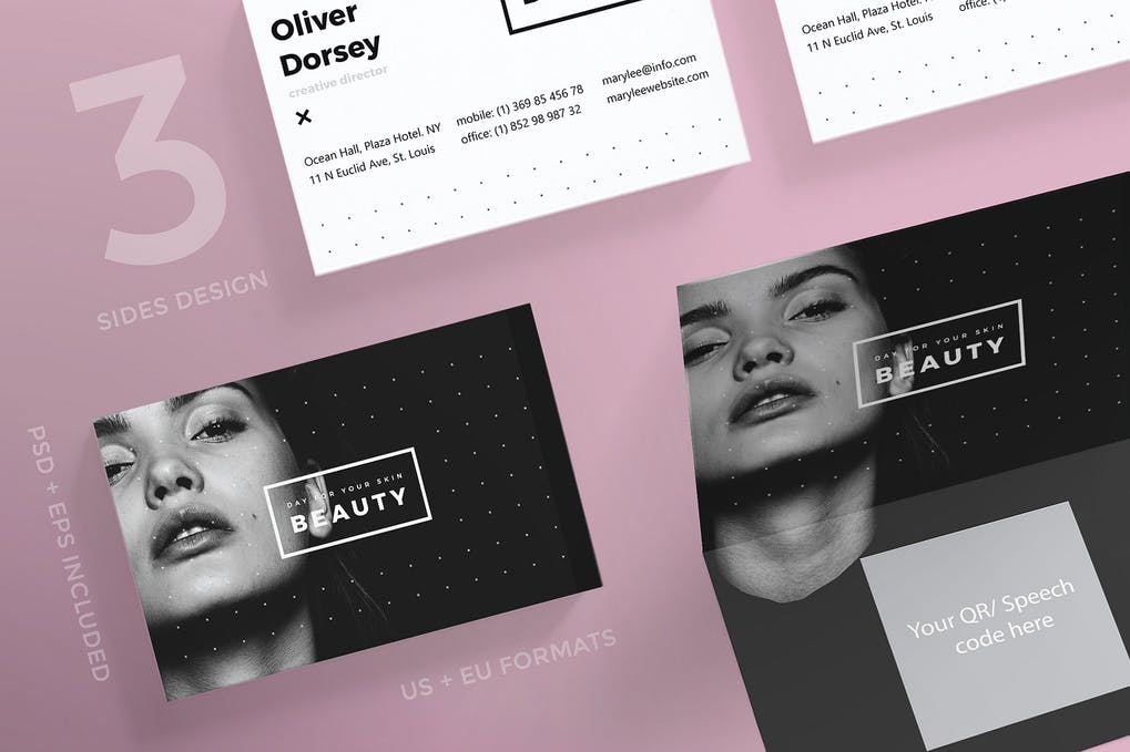 art director's pick of makeup artist business card #6