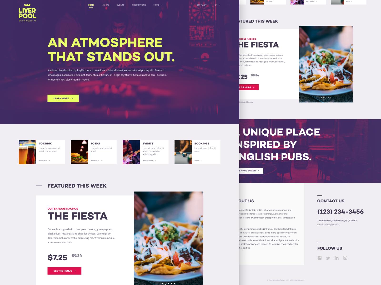 Bar Website Design Example #1