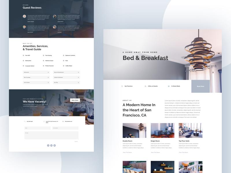 Bed and BreakFast Website Design Example #2