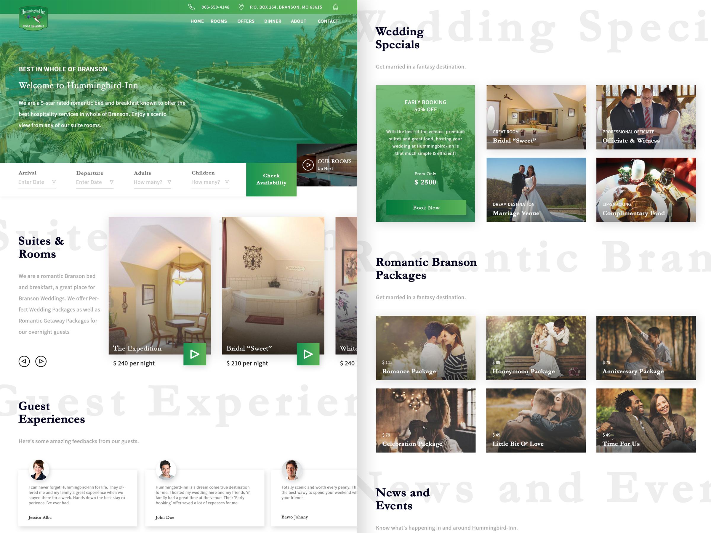 Bed and BreakFast Website Design Example #1