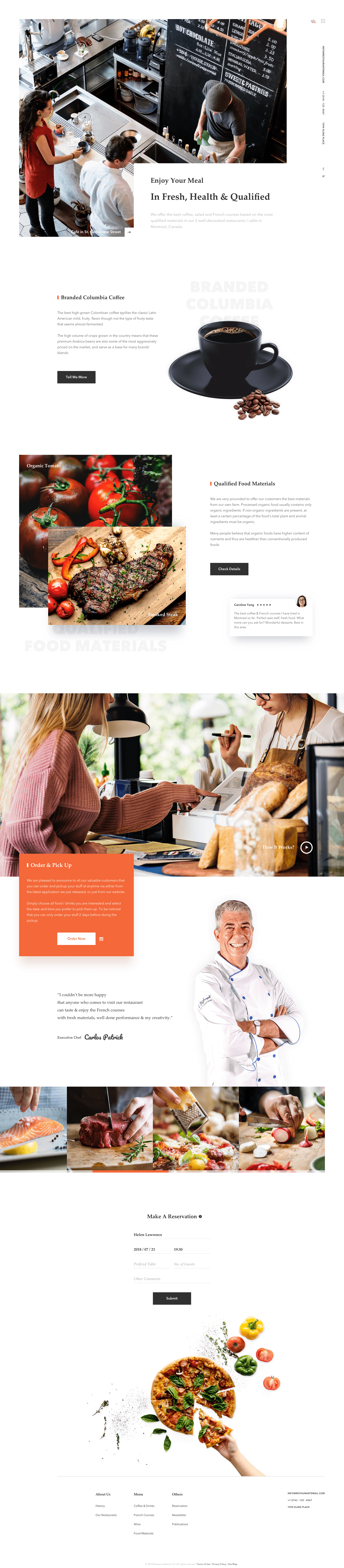 Cafe Website Design Example #2