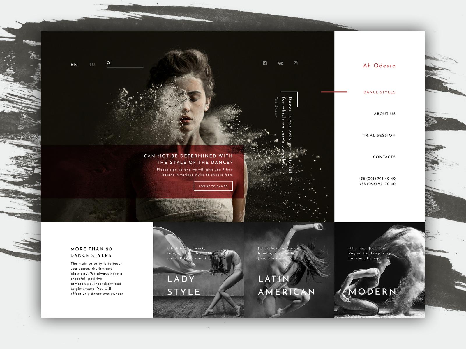 Dance Studio Website Design Example #2