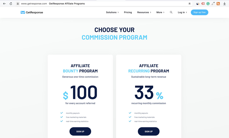 GetResponse Affiliate Program Comissions