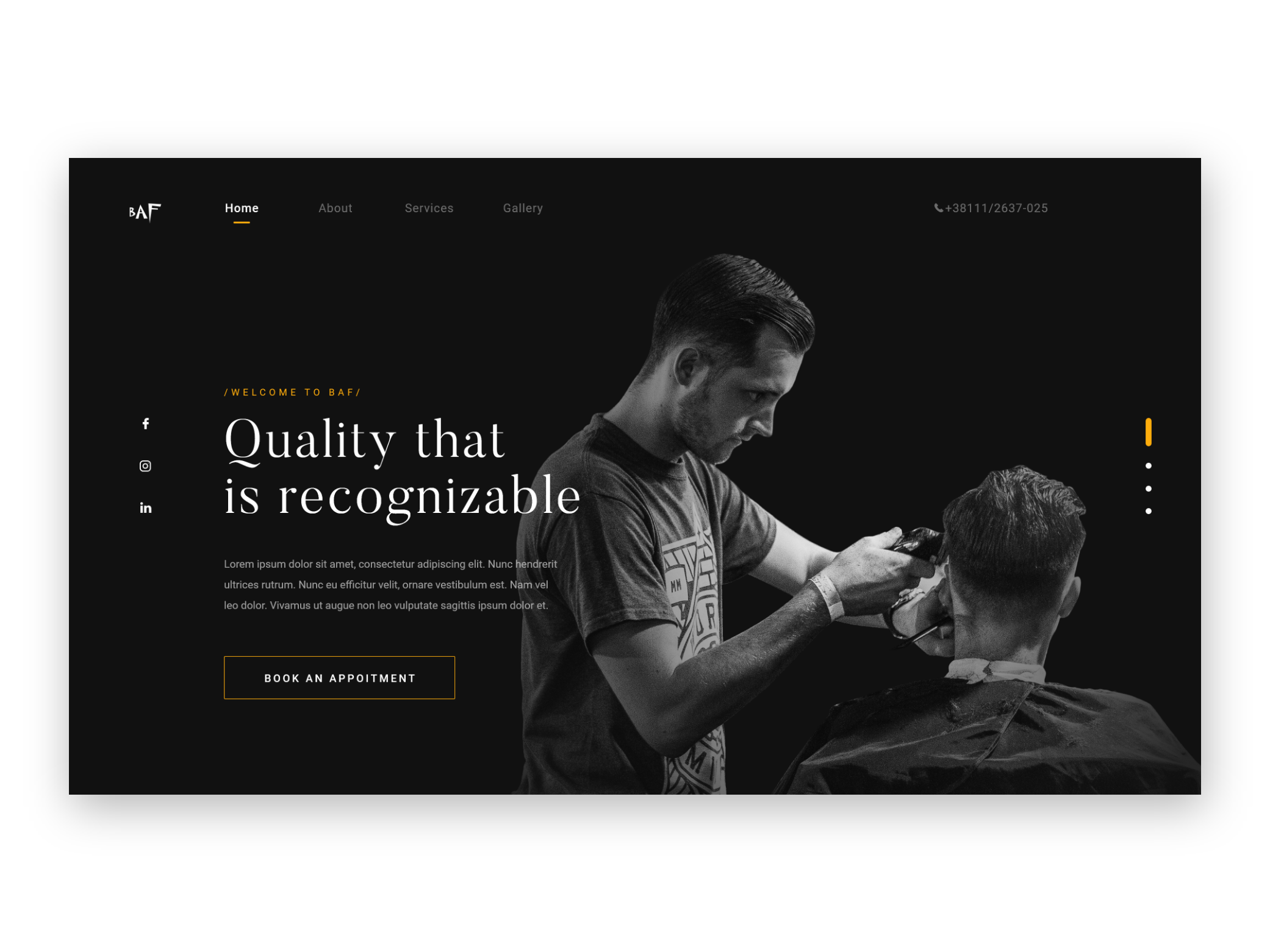 Hairdresser Website Example #2