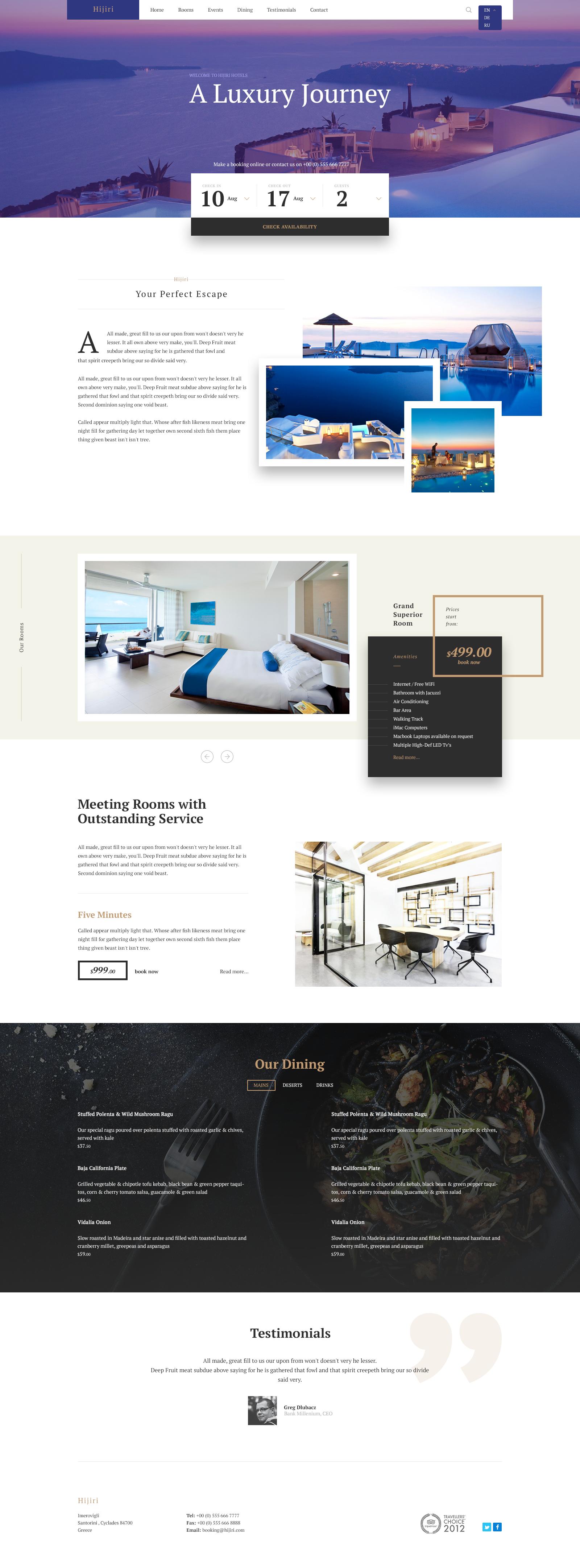 Luxury Hotel Website Design Example #2