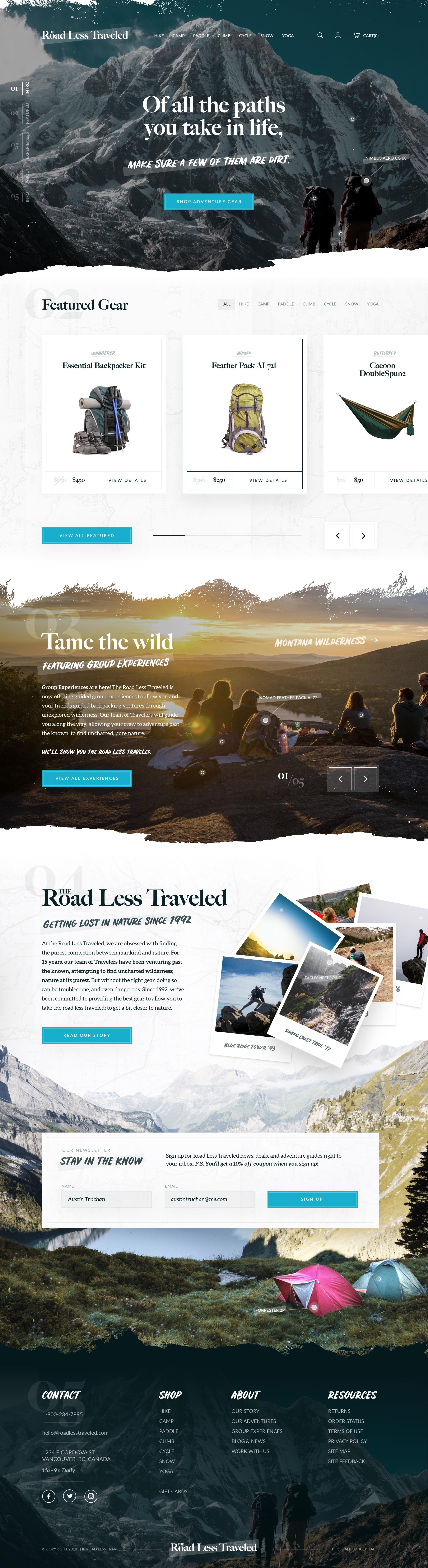 Outdoor Website Design Example #1