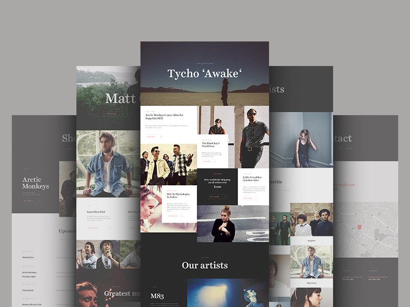 Record Label Website Design Example #1