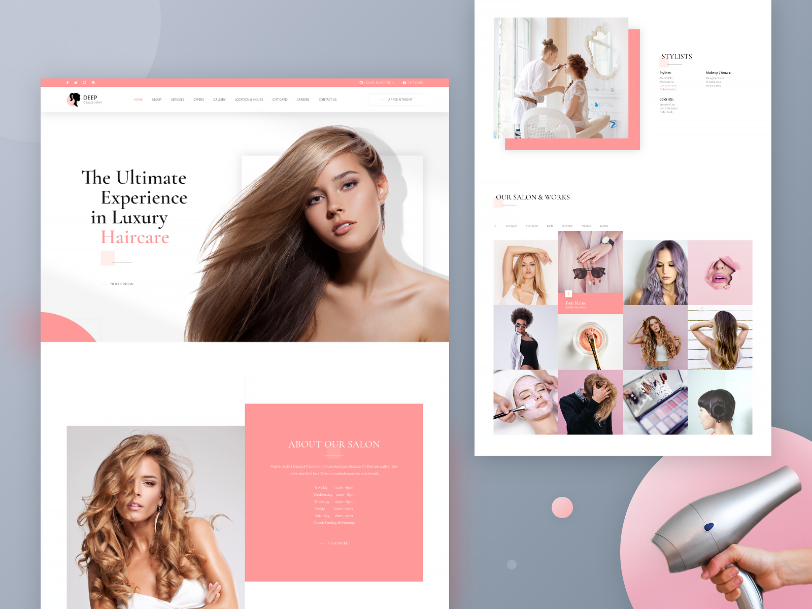 Salon Website Design Example #1