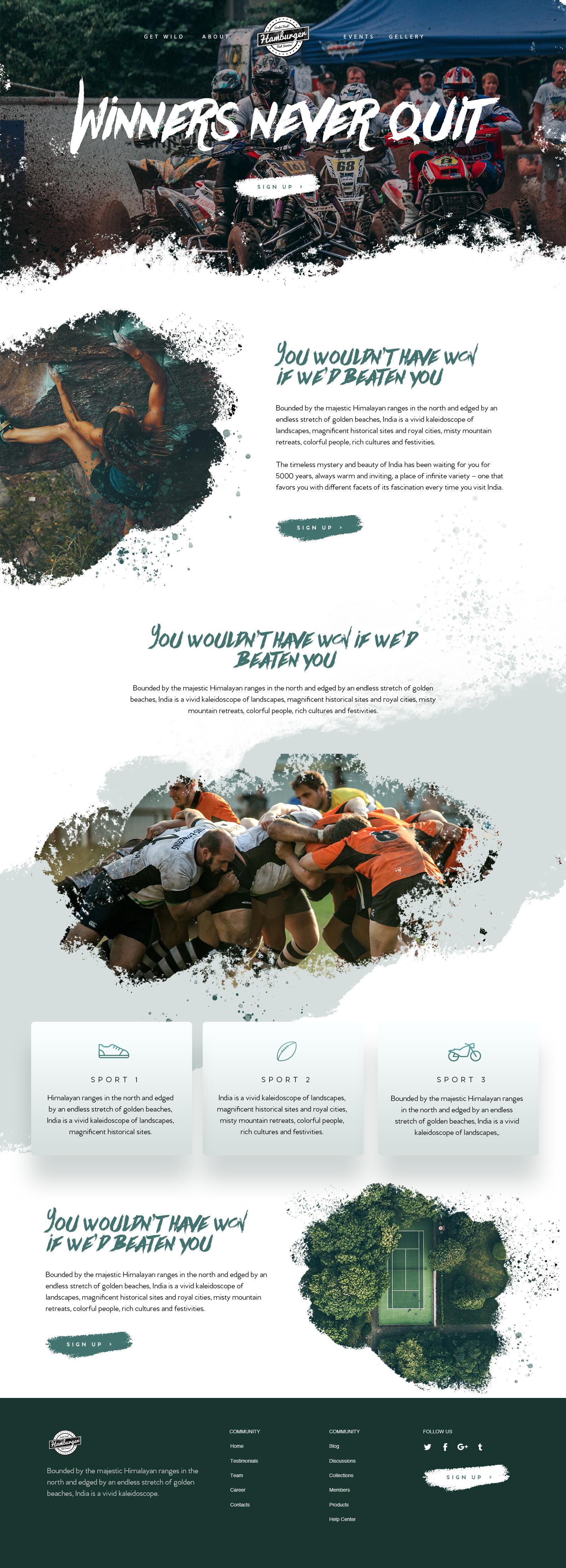 Sports Website Design Example #2