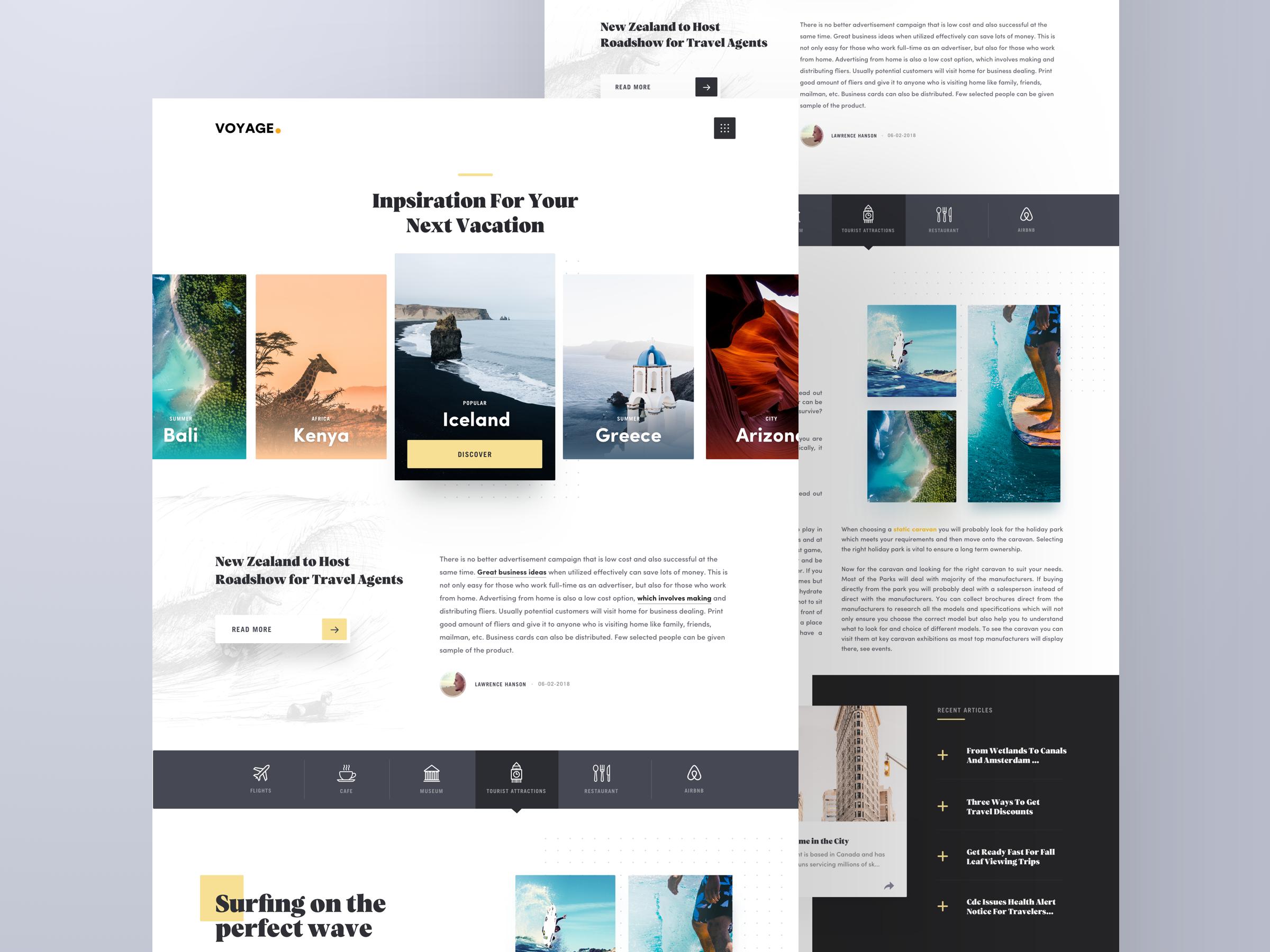 Travel Website Design Example #2
