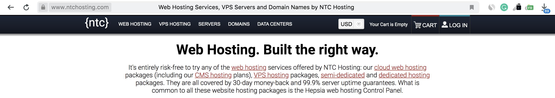 NTC Hosting Homepage