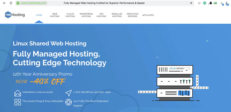 TMDHosting Homepage Screenshot