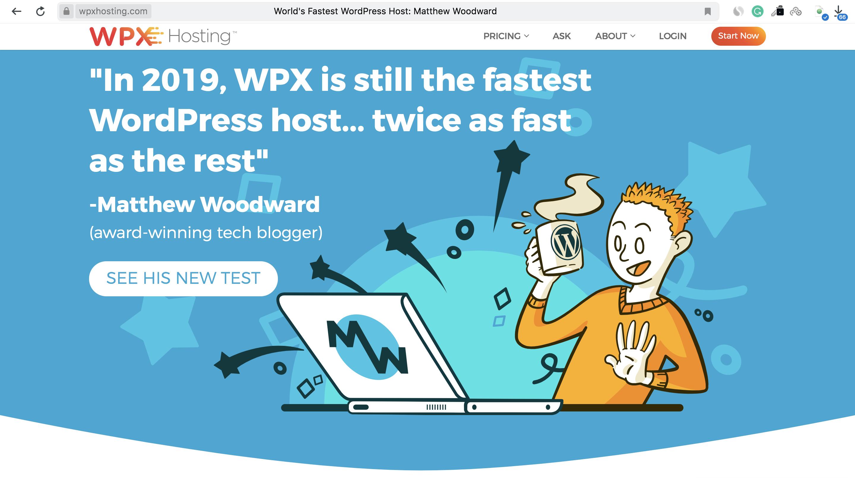WPX Hosting Homepage Screenshot