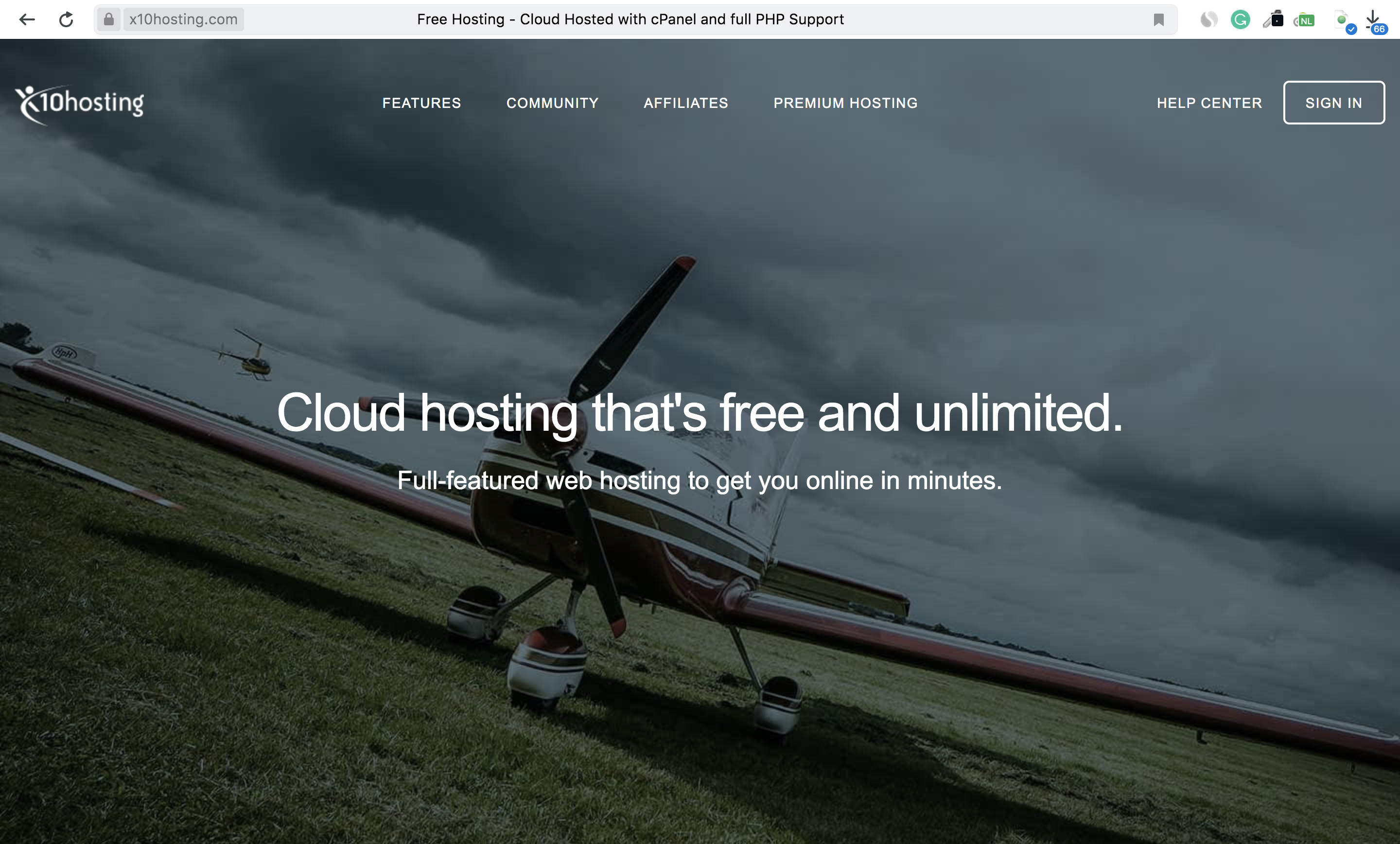 X10Hosting Homepage Screenshot – X10Hosting Review